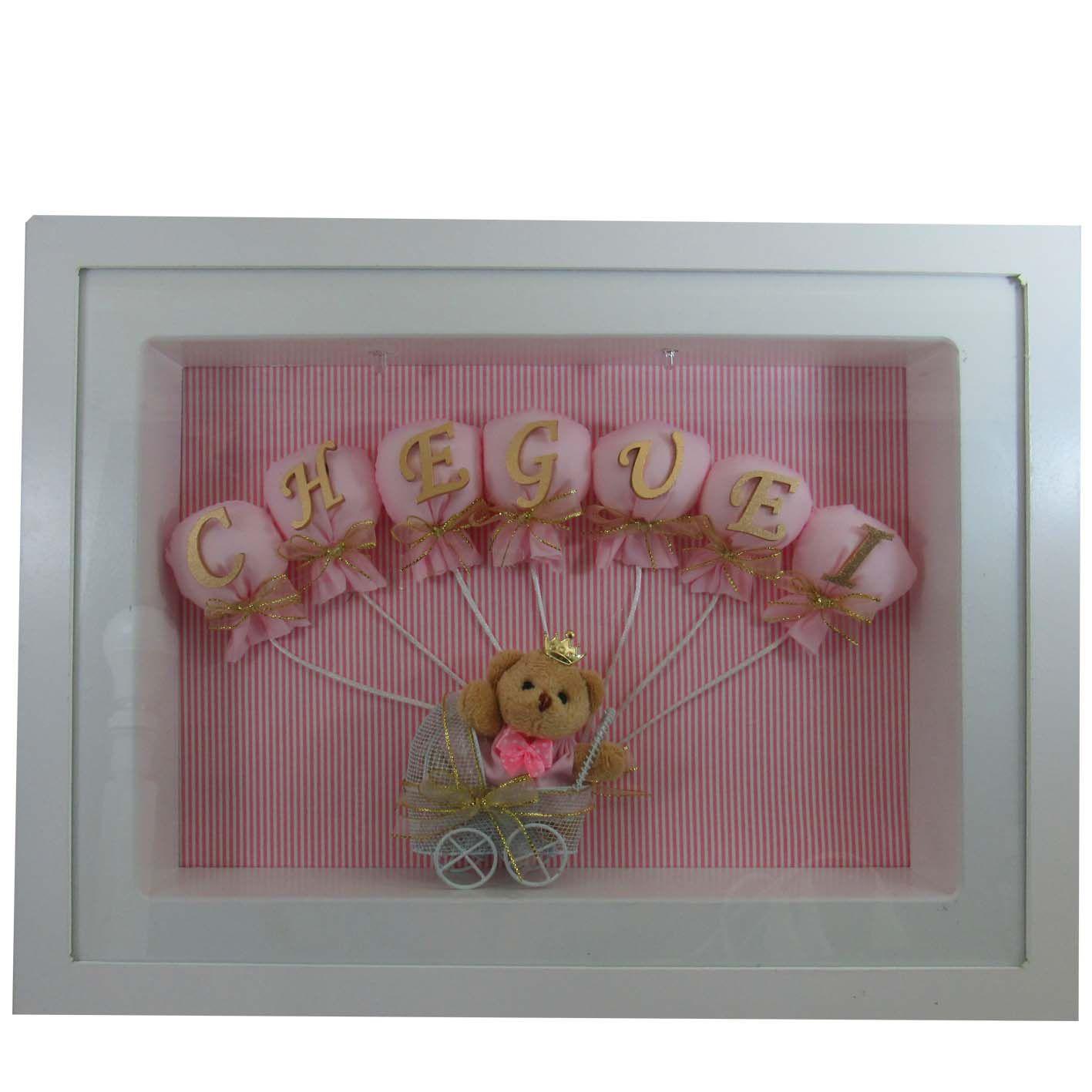 Quadro Porta Maternidade - Cheguei Menina