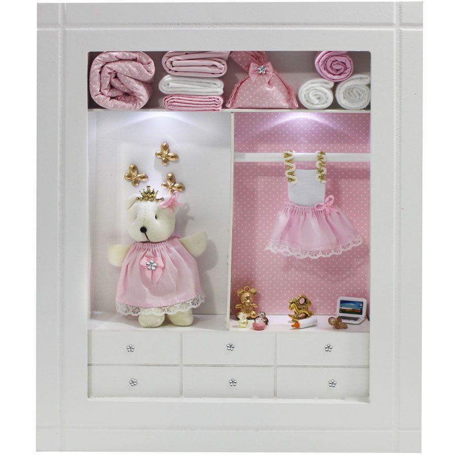 Quadro Porta Maternidade Closet - Rosa Poá