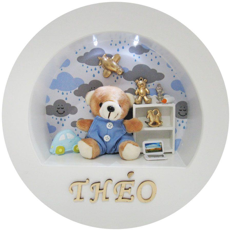Quadro Porta Maternidade Nicho - Urso Nuvem Azul