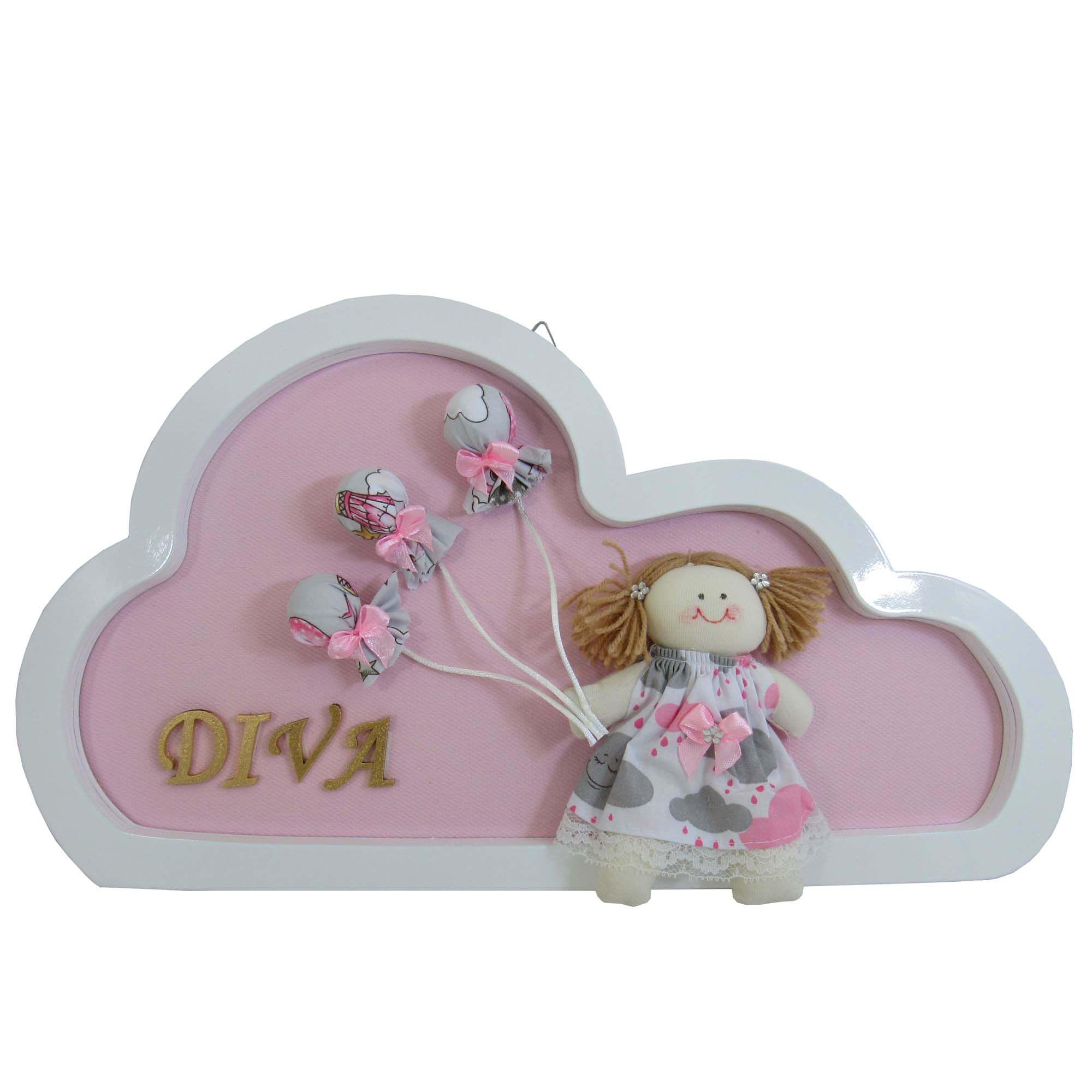 Quadro Porta Maternidade - Nuvem Menina