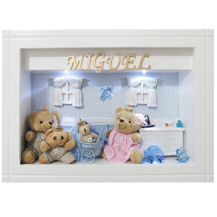Quadro Porta Maternidade Personalizado - Listra Azul Família