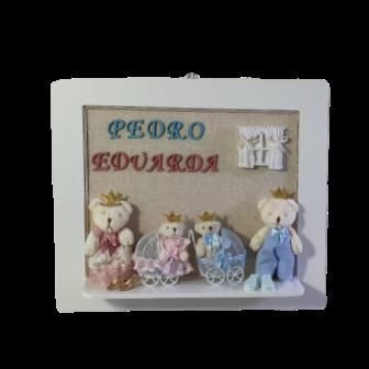 Quadro Maternidade com nome - Rosa Azul Gêmeos familia decoração quarto bebê