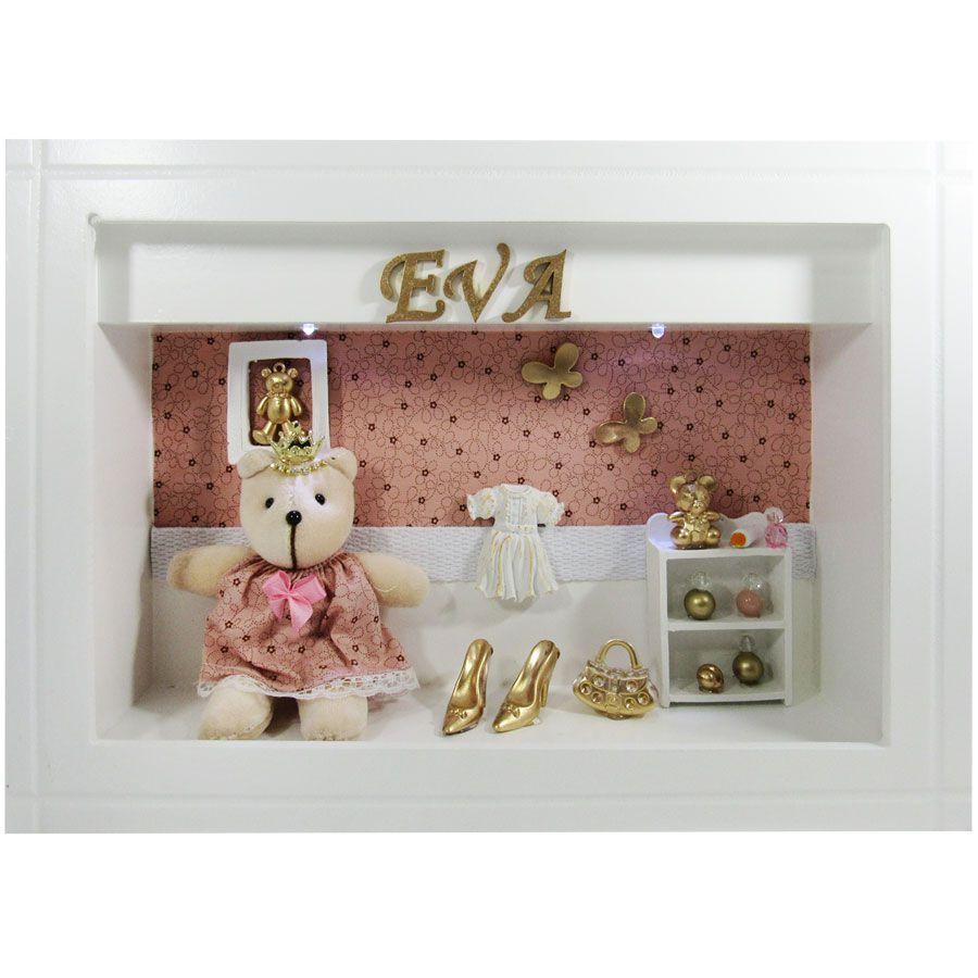 Quadro Porta Maternidade - Rose com Marrom Borboletas