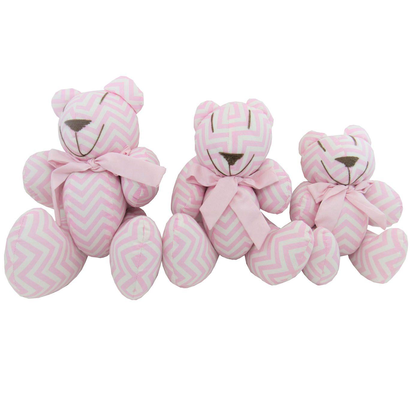 Trio de Urso Articulado - Tecido Menina