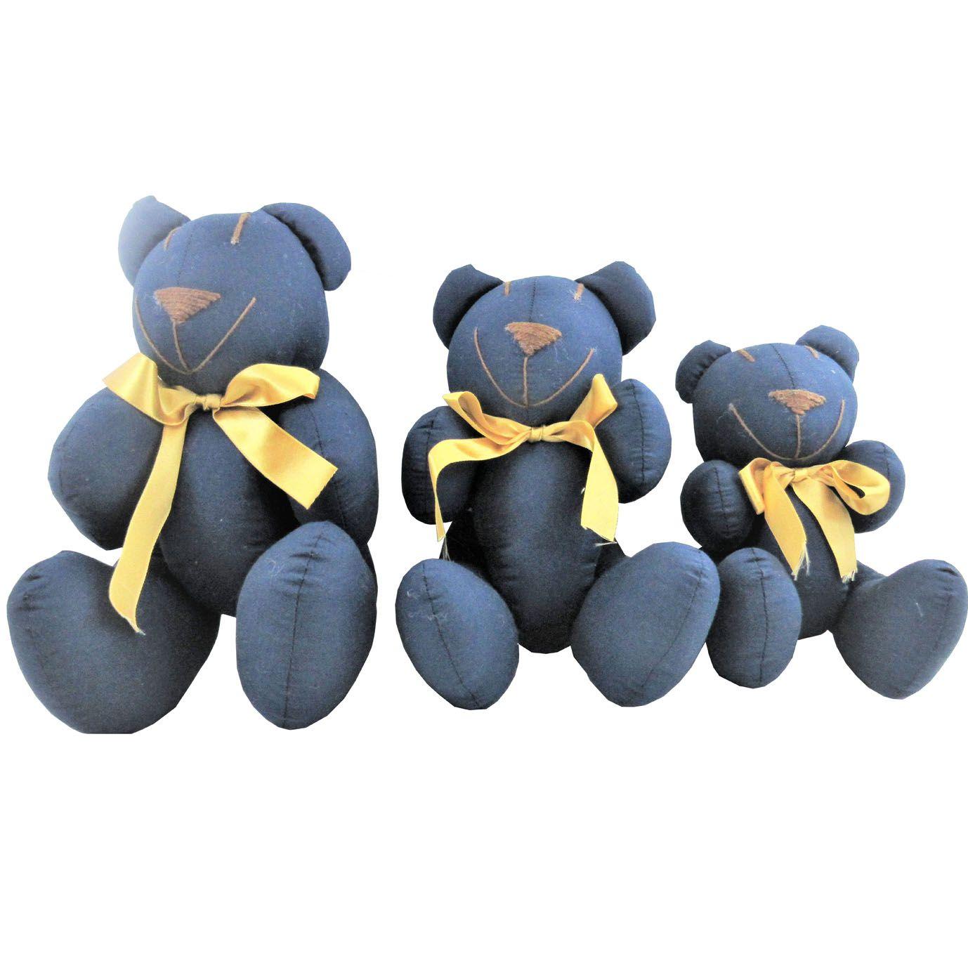 Trio de Urso Articulado - Tecido Menino