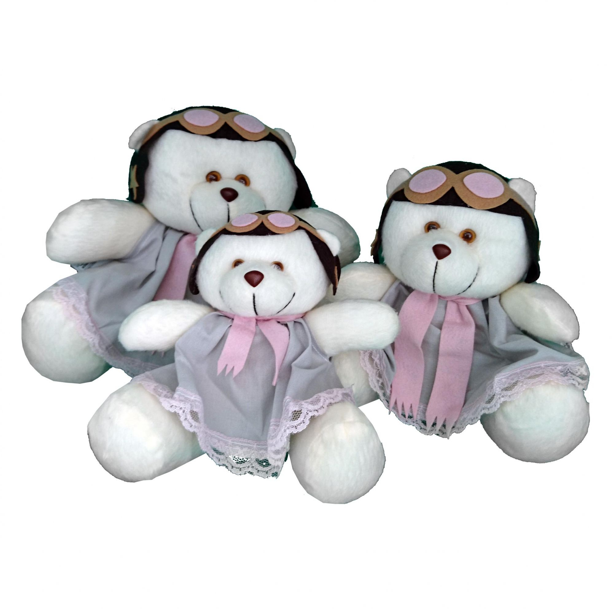 Trio De Urso Aviadora  Rosa  Menina Decoração Quarto De Bebê-Nitababy
