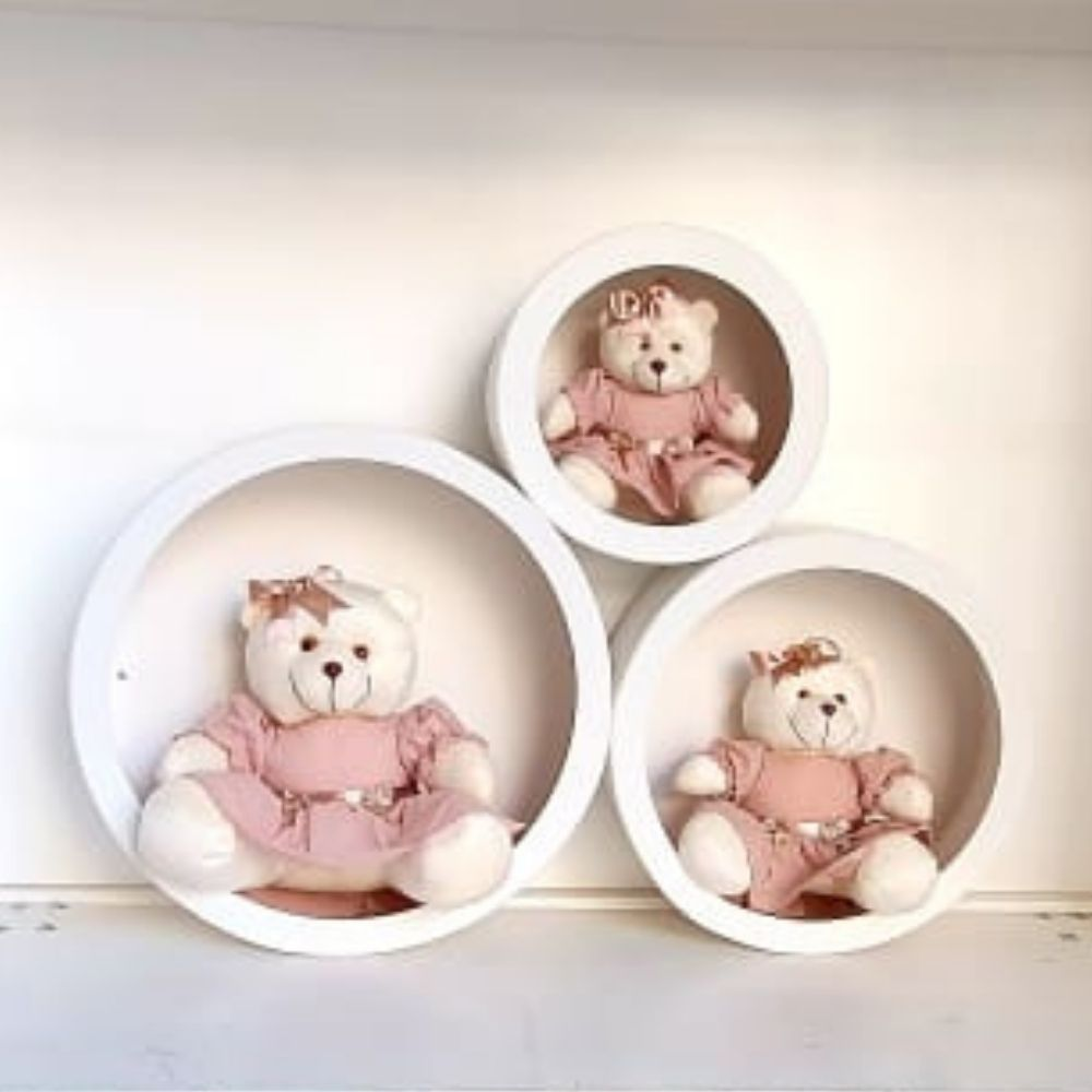 Trio Ursa Com Trio de Nicho de Parede Decoração Quarto Bebê Rosa cha  laço Frete Grátis SP