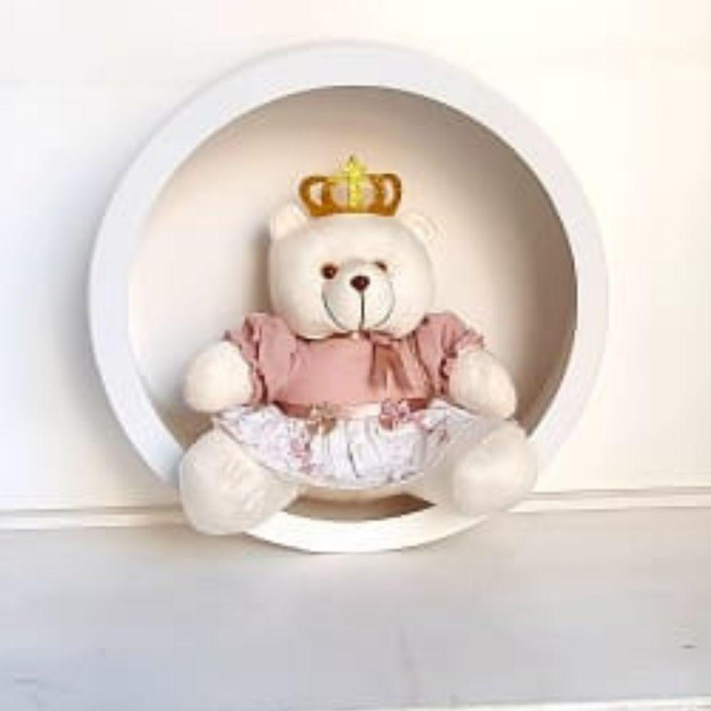 Trio Ursa Com Trio de Nicho de Parede Decoração Quarto Bebê Rosa Cha Floral Princesa Frete Grátis SP