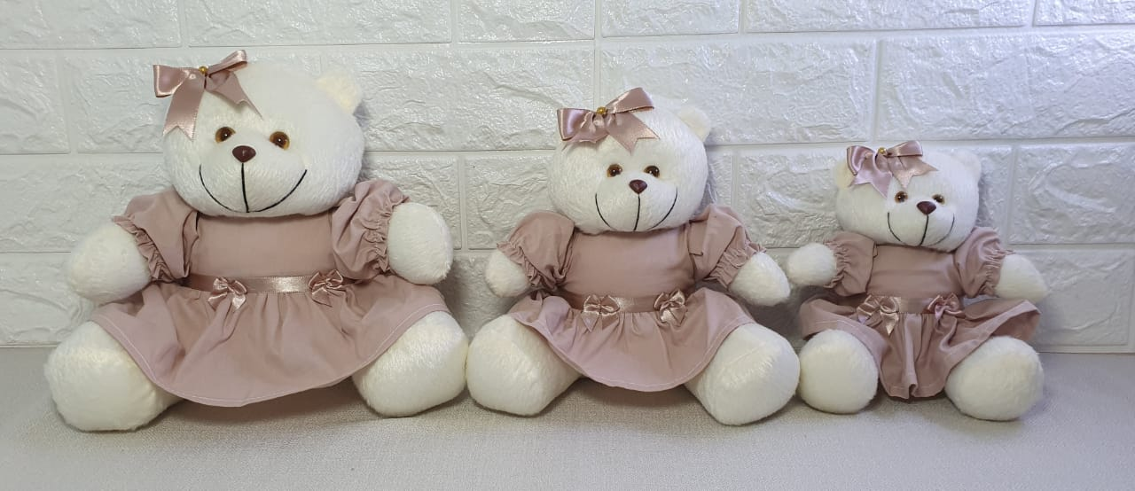 ursa rosa cha  laço para decorar nichos decoração quarto bebê infantil -nitababy