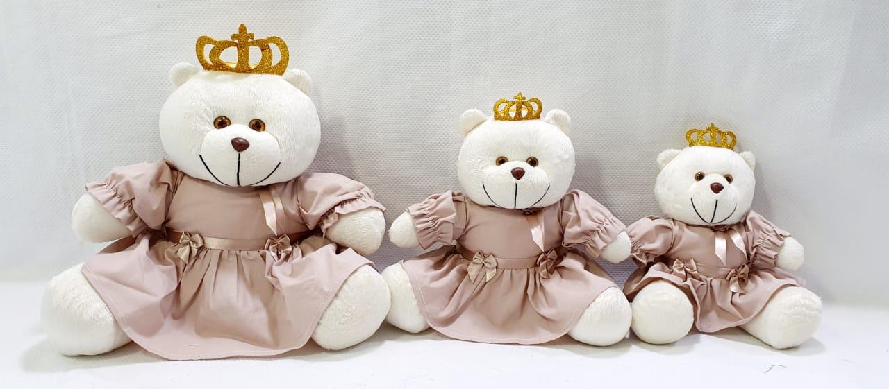 urso  para nicho trio rosa cha   decoração quarto bebê infantil -nitababy
