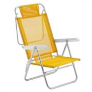 Cadeira De Praia - Mor Sol De Verao Summer Aluminio Amarela