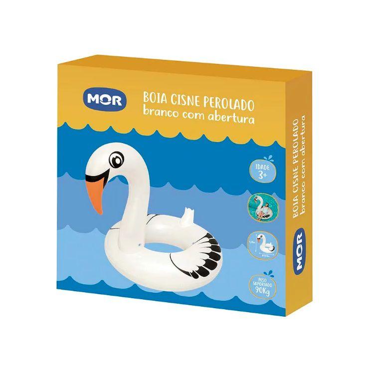 Boia Gigante Cisne Perolado Branco com Abertura Mor