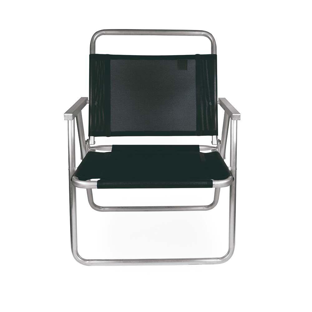 Cadeira de Praia Alta Oversize Preta Alumínio - Mor