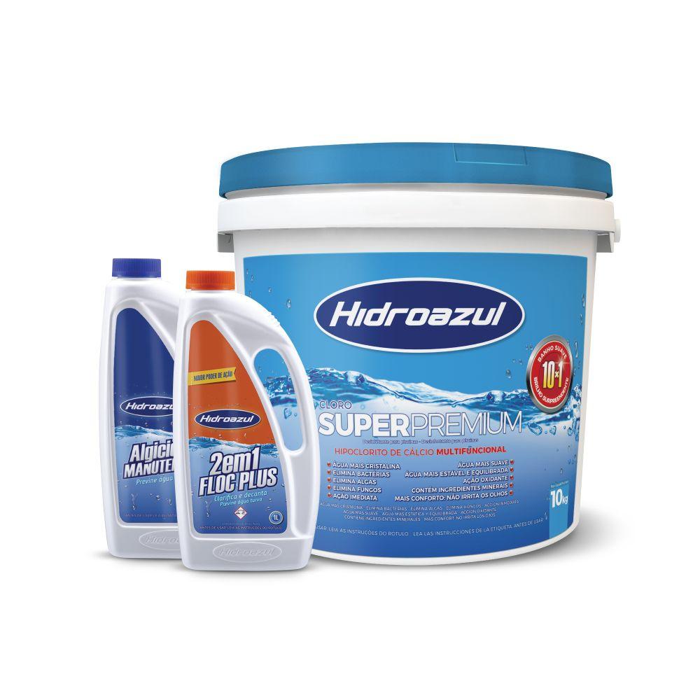 Cloro Super Premium + Algicida de Manutenção + Clarificante - Hidroazul