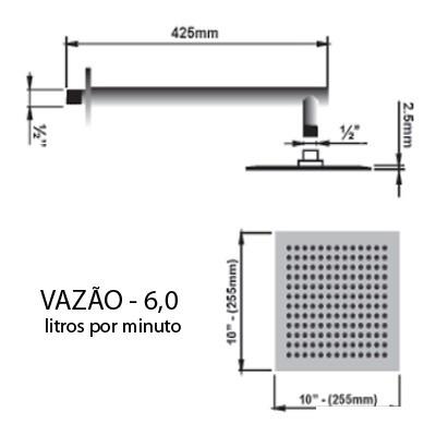 Ducha Chuveirão Cascata de Aço Inox Quadrada Sodramar