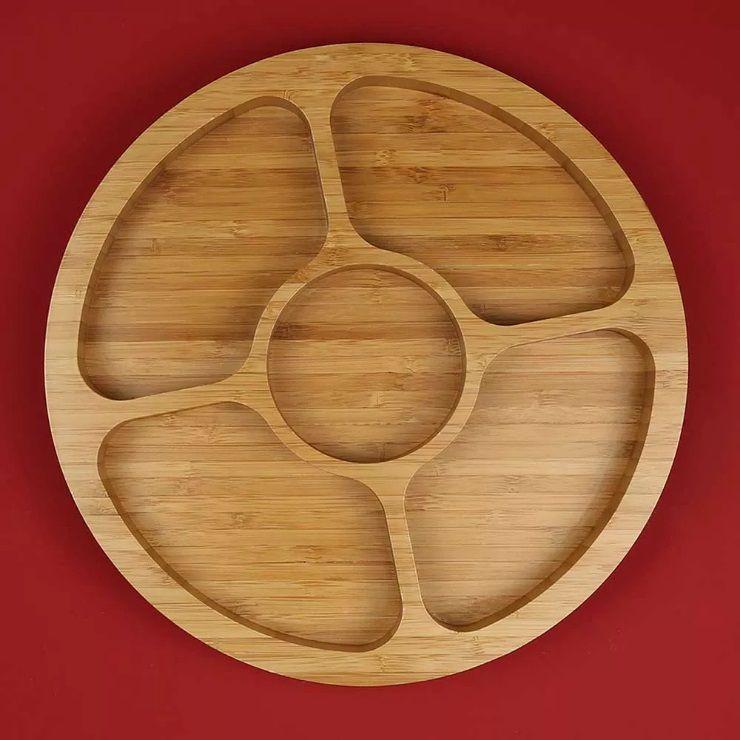 Gamela para Aperitivos com 5 Divisórias Bamboo