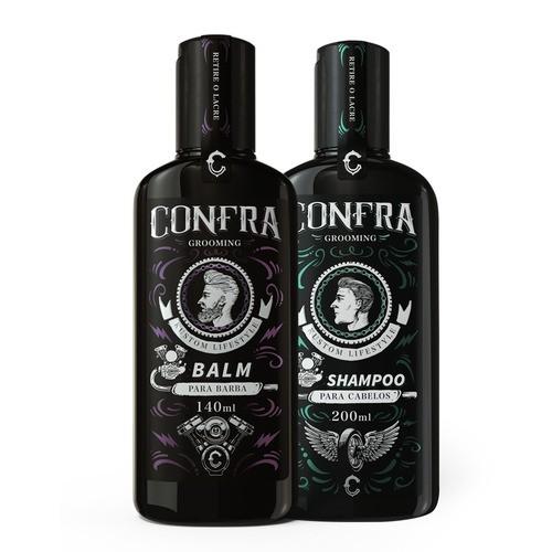 Kit 2 produtos - Shampoo Mentol Confra e Balm Para Barba Confra
