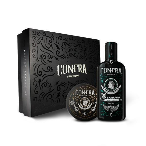 Kit Clássico - Shampoo para Cabelo + Pomada Efeito Úmido Confra + Caixa Confra