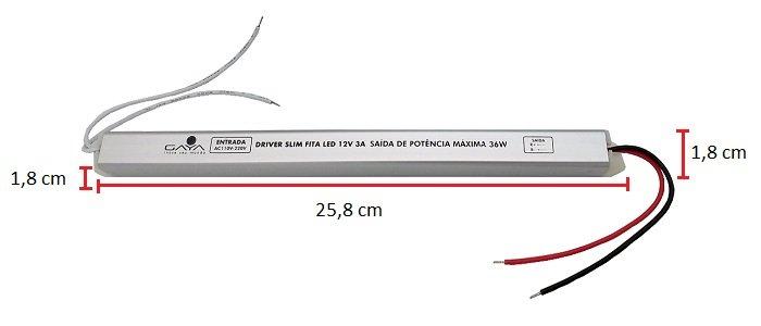 Driver Slim P/ perfil led  12v 36watts 3a 127v220v