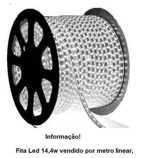 Fita 110V Led 14.4w/metro Ip67 13mm 6000k Luz Branca