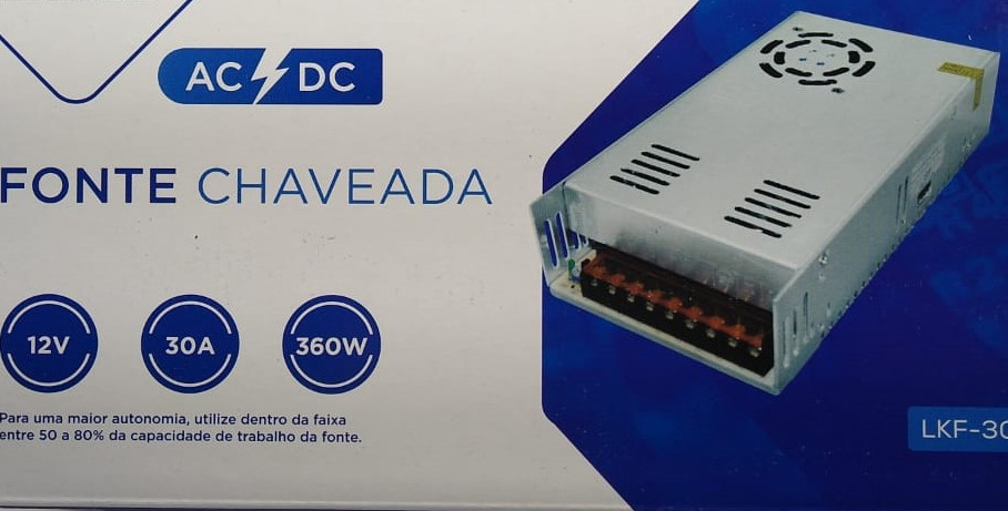 Fonte 30 ampere chaveada c/cooler 12 volt 360W 110v220v