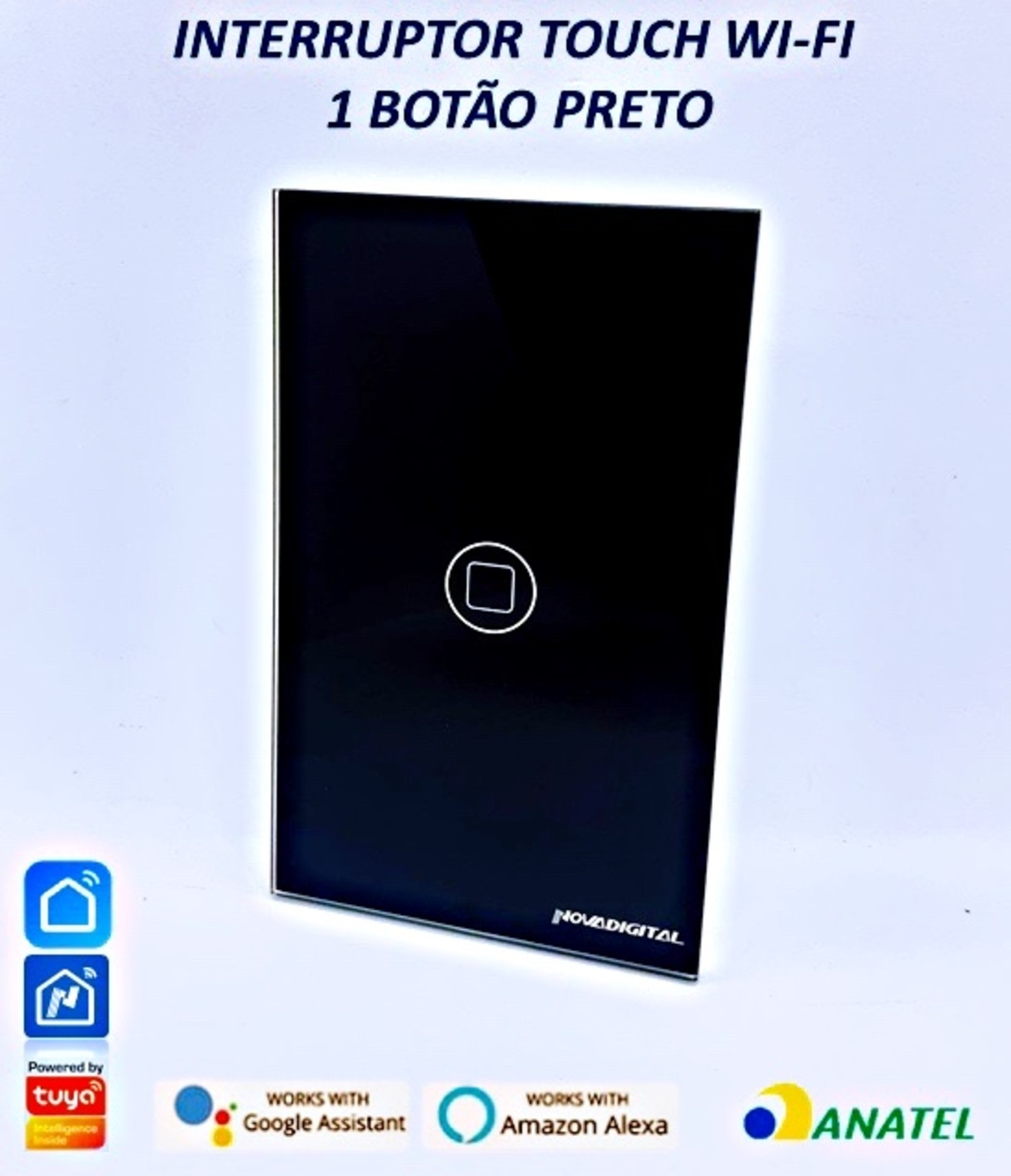 Interruptor Wi-Fi Touch  433mhz Glass Preto 1 toque 110v220v