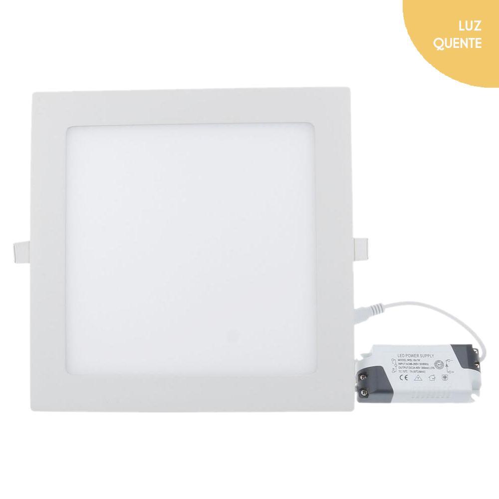 Luminária Painel embutir Led 18w 3000k Luz amarela 110v220v