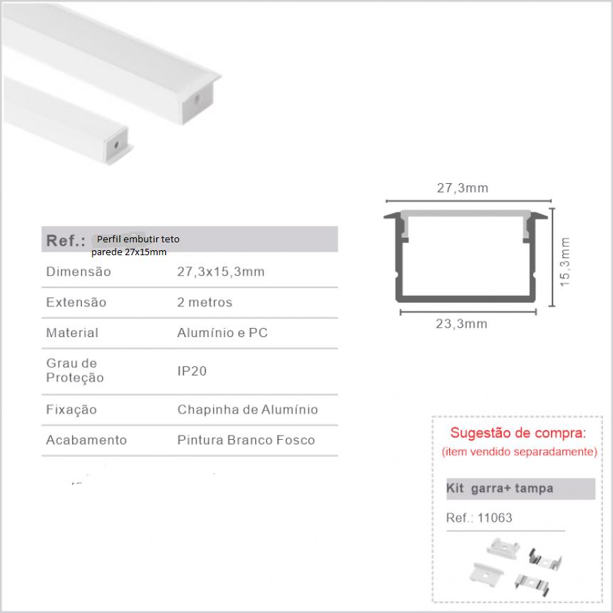Perfil P/fita led embutir Teto parede 27mmx15mm barra 1metro