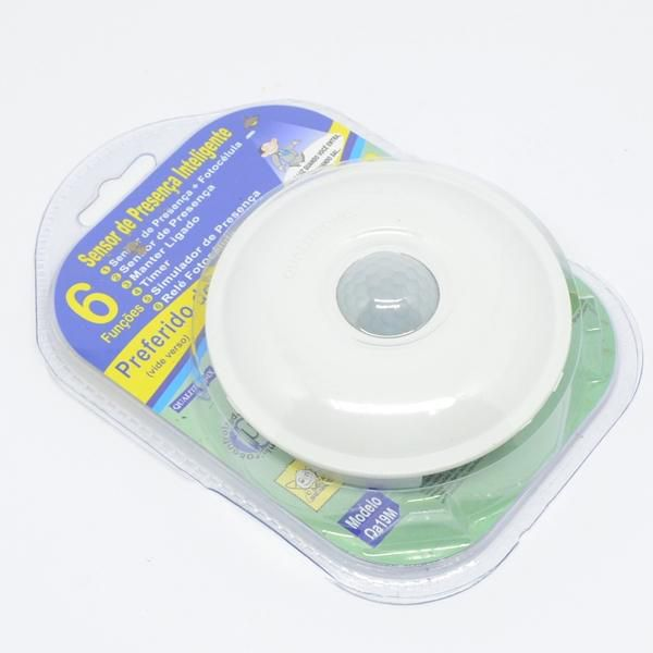 Sensor de Presença redondo embutir Teto c/ fotocélula, 360 graus Qa19M