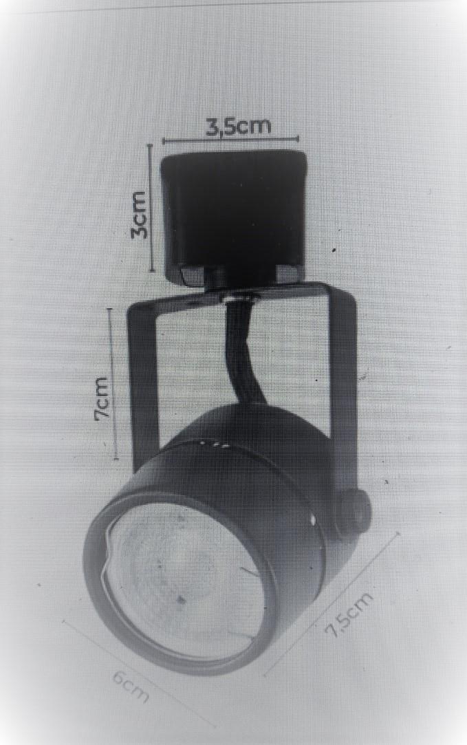 Spot P/ trilho elet. dicroica Gu10 cor preto