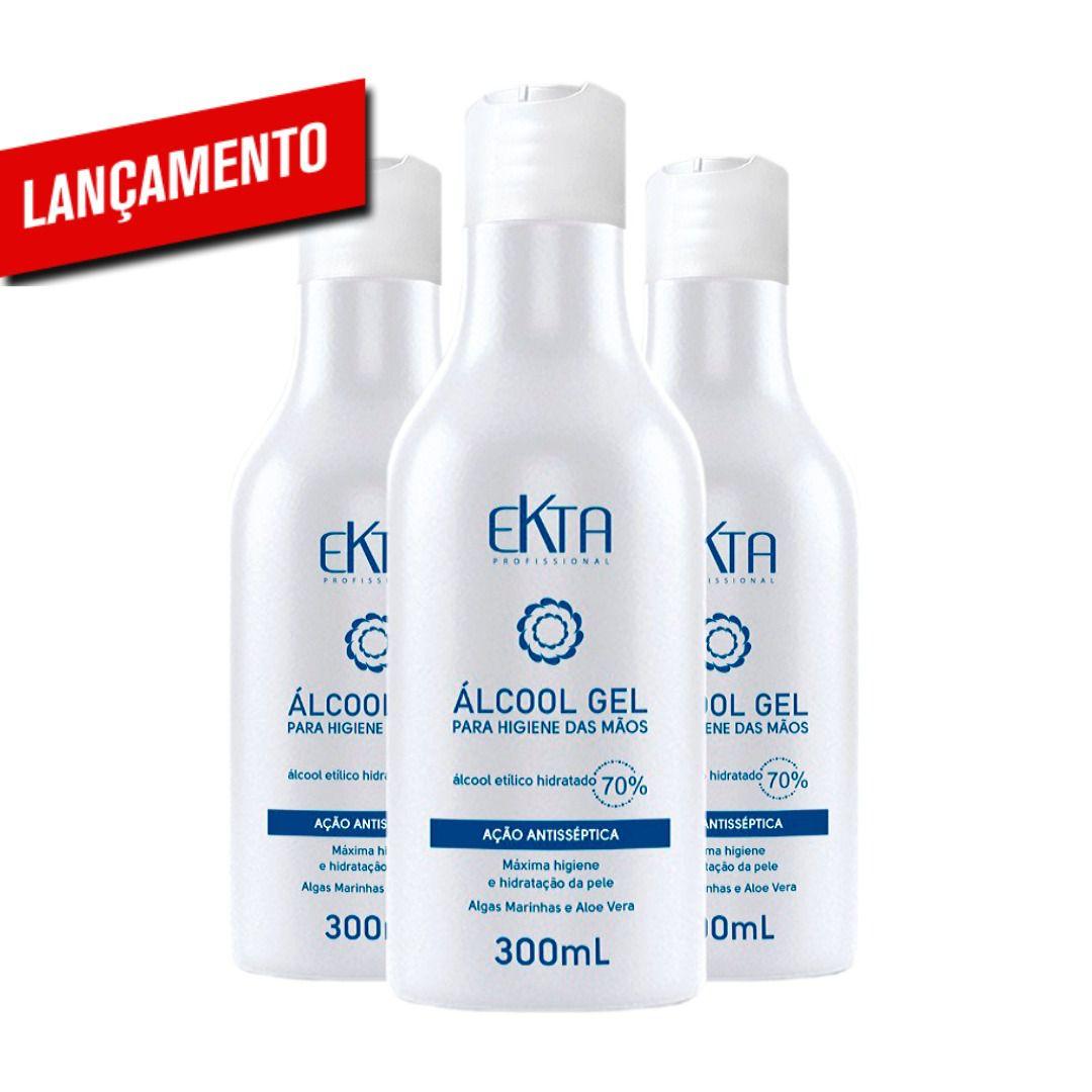 Álcool em Gel 70% Antisséptico (300mL) - Combo 3 Unidades