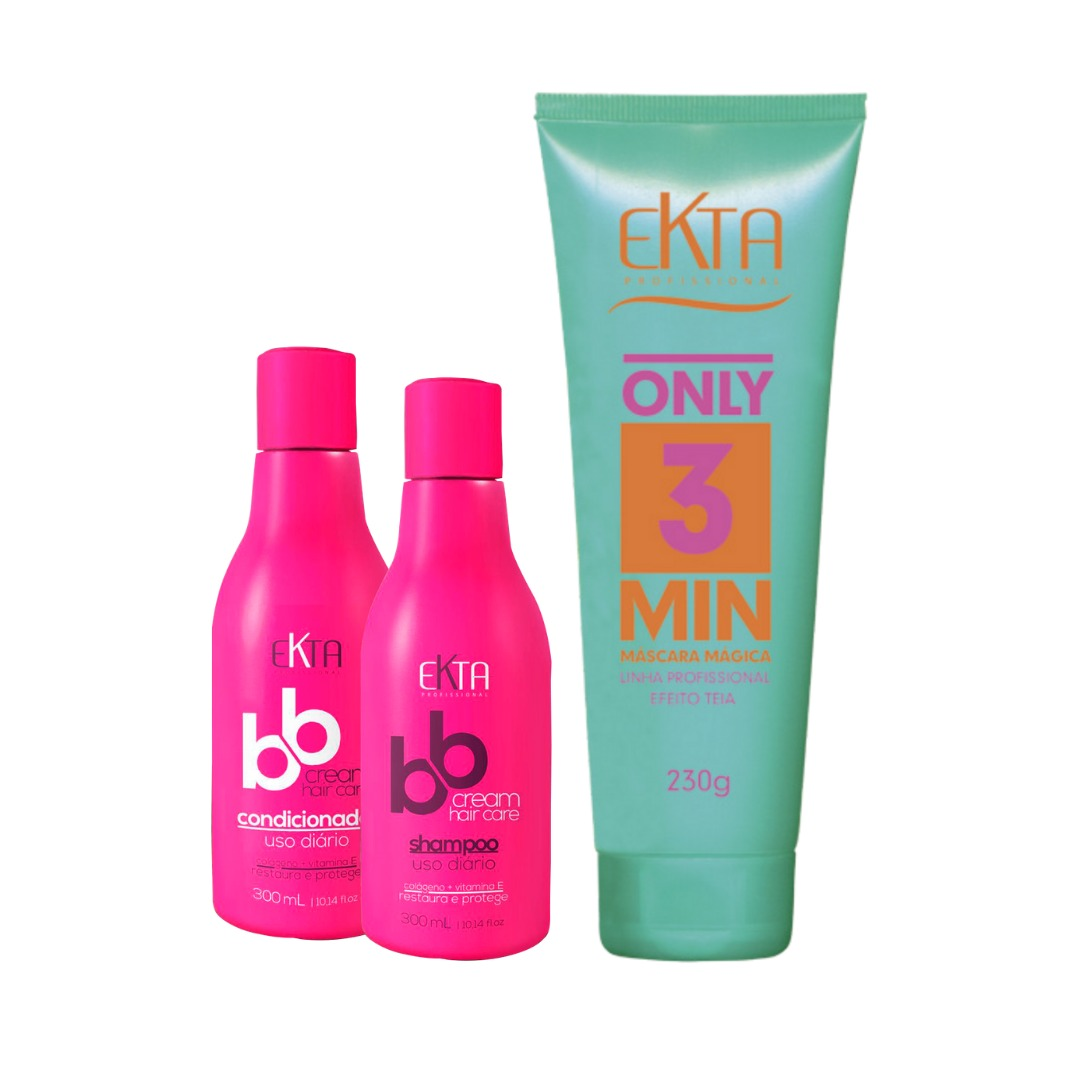 Kit Hidratação Cronograma Capilar - Shampoo & Condicionador BBCream + Máscara Mágica Only3Min