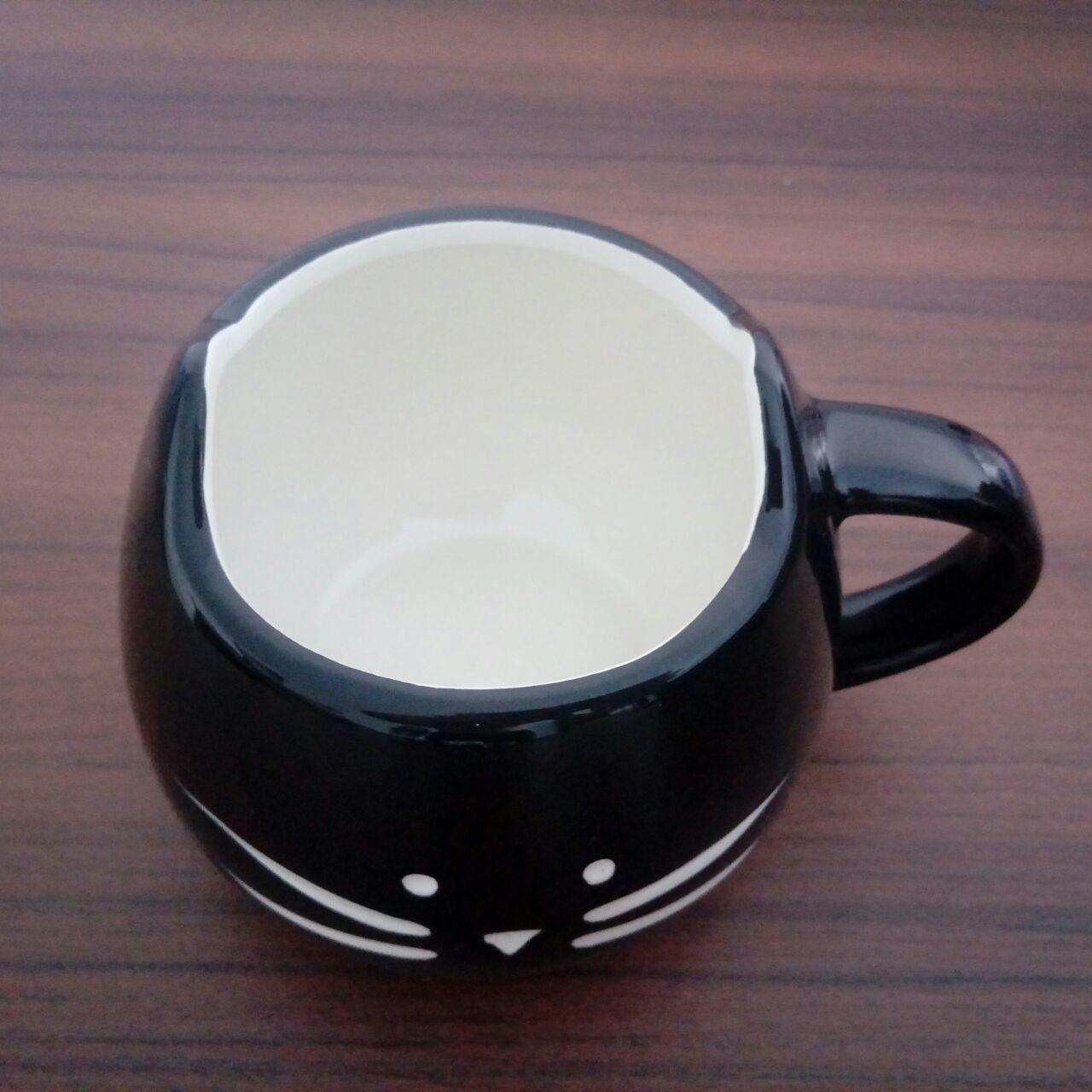 Caneca Cerâmica Gatinho + Colher Brinde - Pronta Entrega