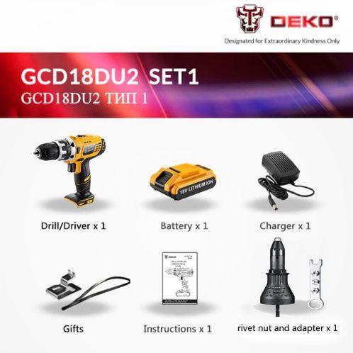 Furadeira 18V Rebite Elétrica Sem Fio 2 Vel GCD18DU2