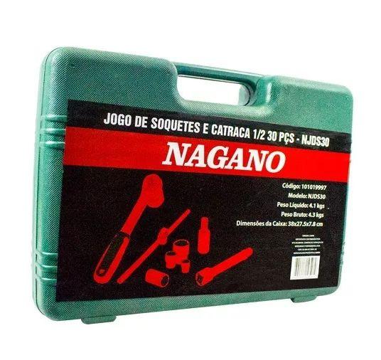 Kit Profissional De Soquetes E Catraca 1/2 30 Peças Cromo Vanádio - NJDS30 - Nagano