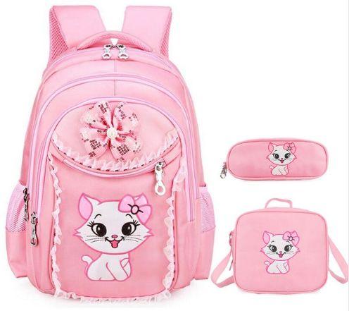 Mochila Escolar Gatinha - Sweet Cat + Bolsa + Estojo