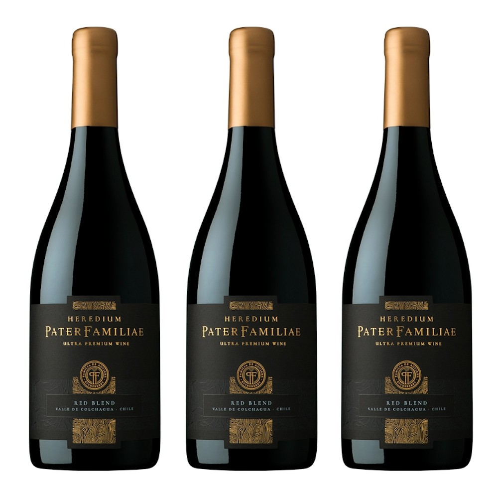 3 Vinho Tinto Pater Familiae Heredium Chileno 750ml Importado