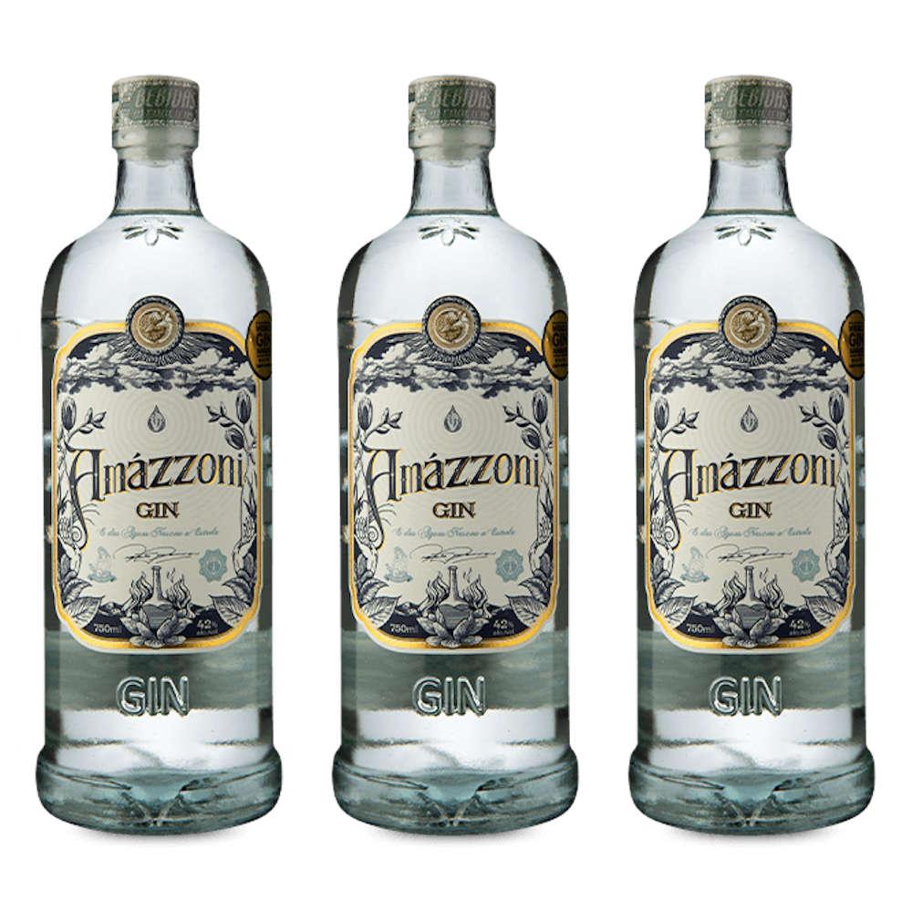 KIT 3 GARRAFA AMAZZONI GIN TRADICIONAL 750 ml