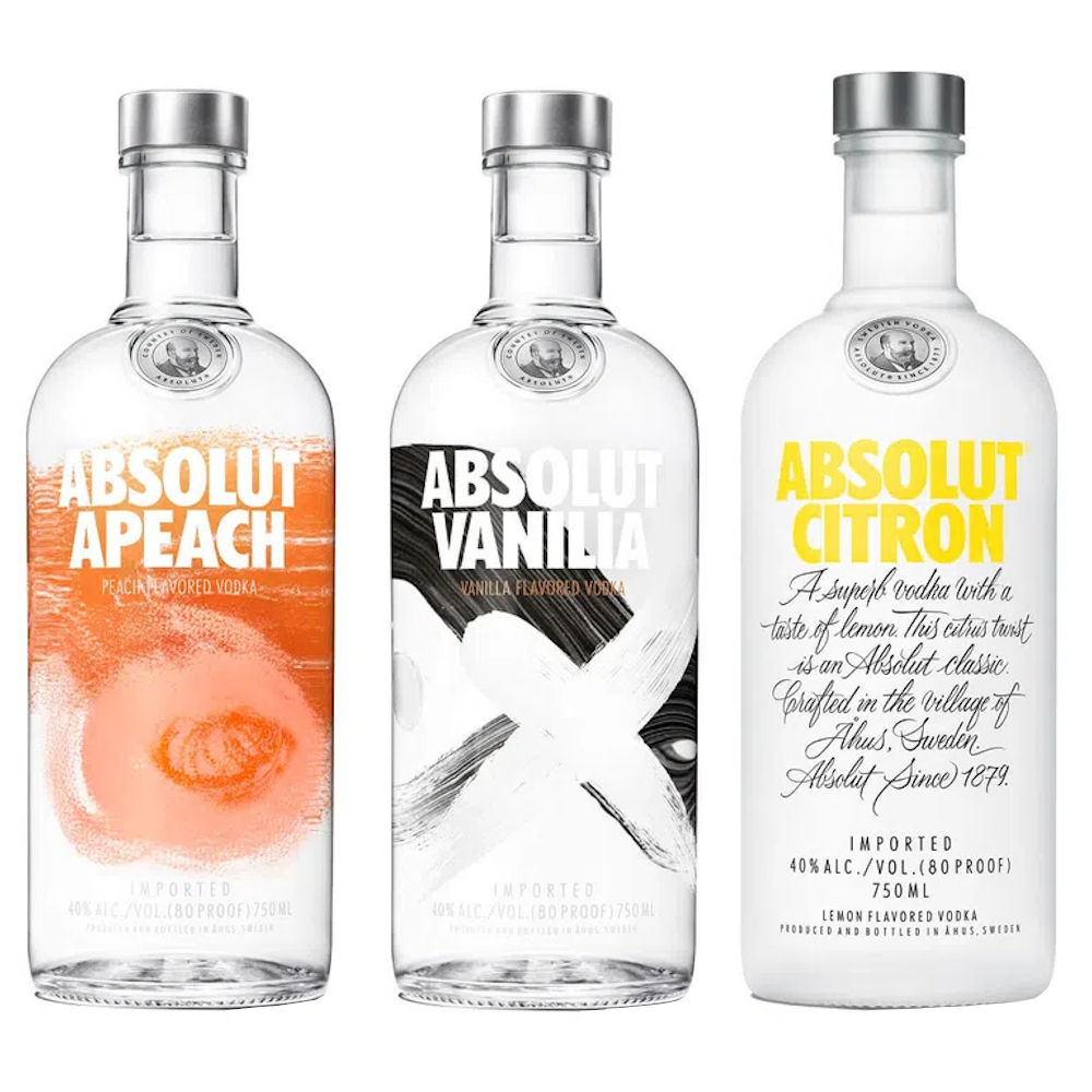 KIT 3 VODKA ABSOLUT 750ml CITRON-VANILLA-APEACH