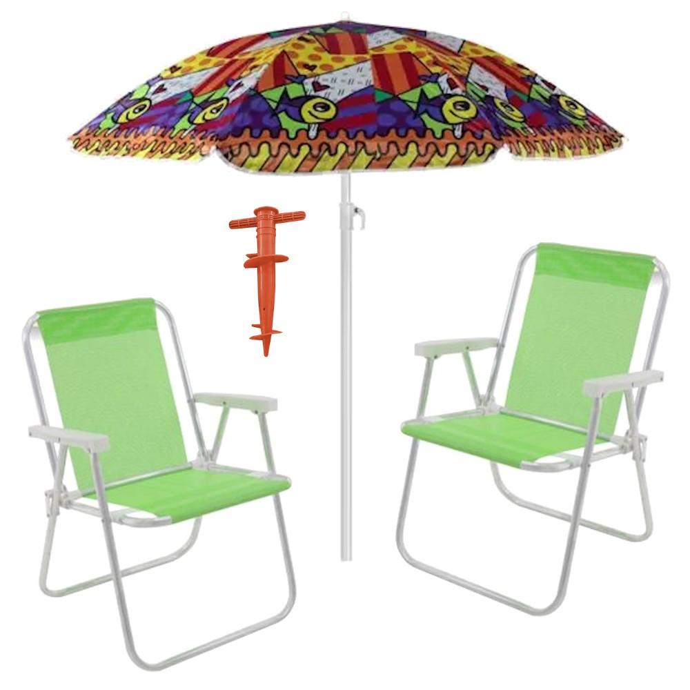 KIT PRAIA - 2 Cadeira Alta + Guarda-Sol + Sacareia