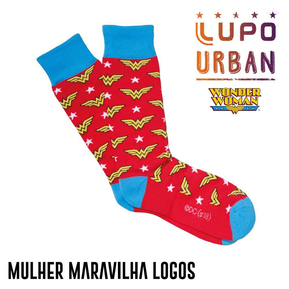 Meia Lupo Urban Mulher Maravilha Logos