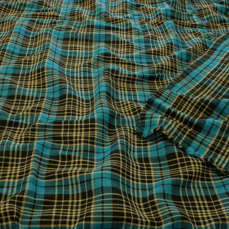 1,50 Metros Tecido Flanela Xadrez Azul e Preto