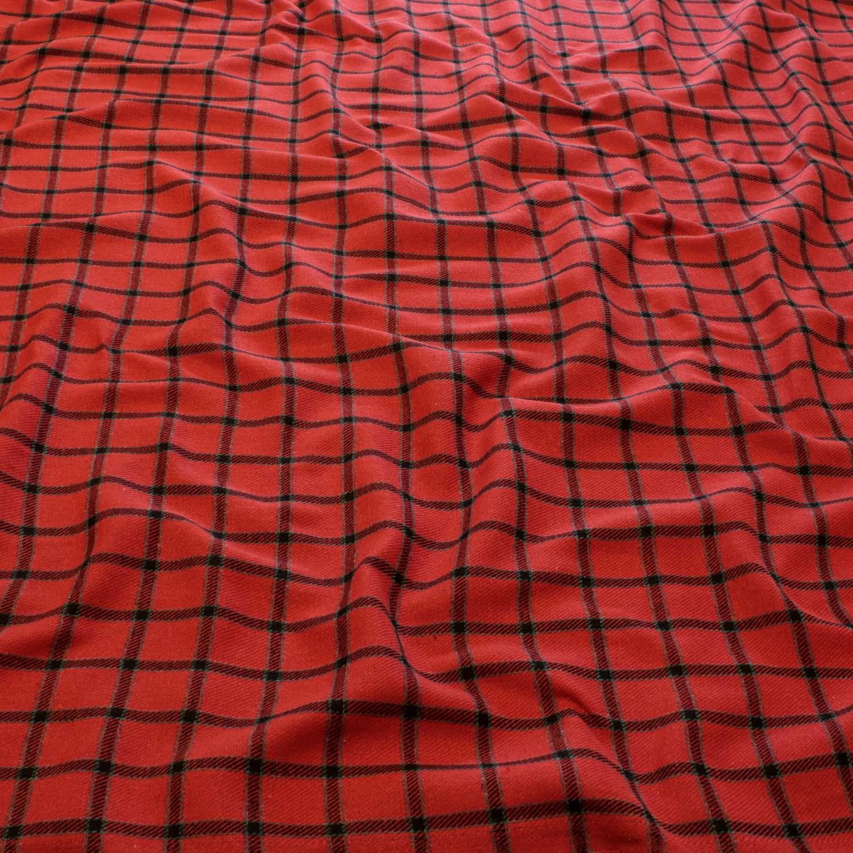 1,50 Metros Tecido Flanela Xadrez Vermelha e Preta