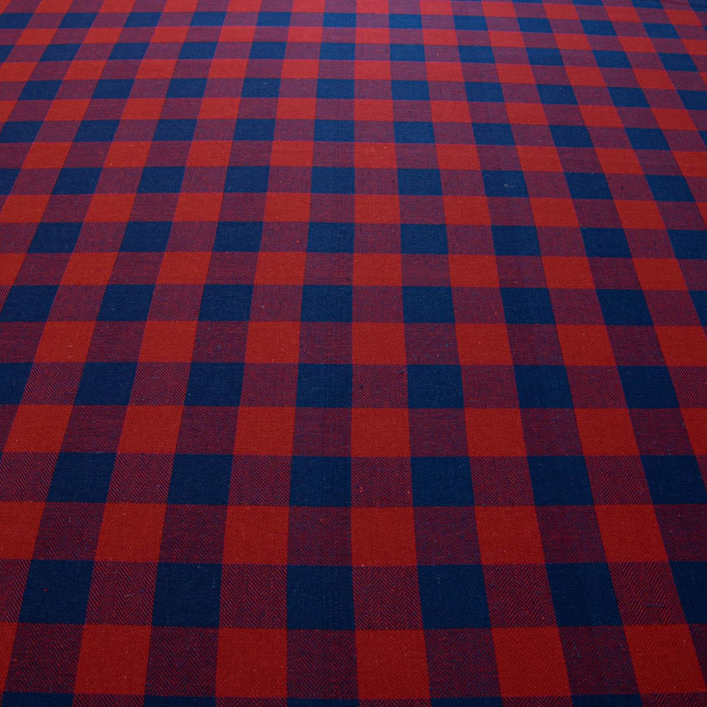 1,50 Metros Tecido Flanela Xadrez Vermelho e Azul Royal