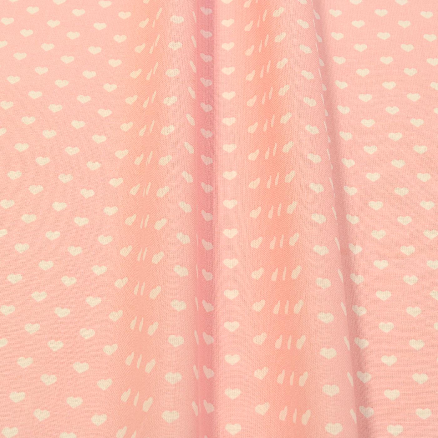 1 Metro Tecido Tricoline Estampado Coracao Branco Fundo Rosa