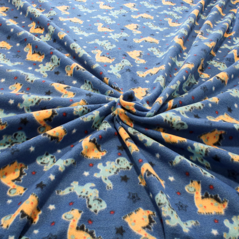 2 Metros Tecido Malha Soft Estampado Dino Azul Índigo