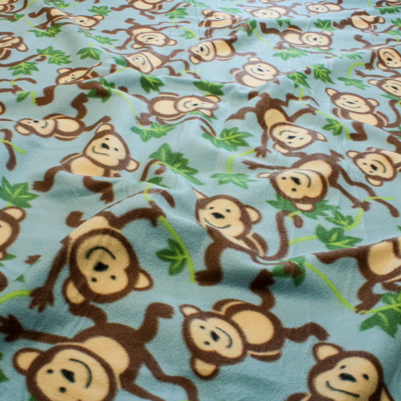 2 Metros Tecido Malha Soft Estampado Macaco Fundo Azul Claro
