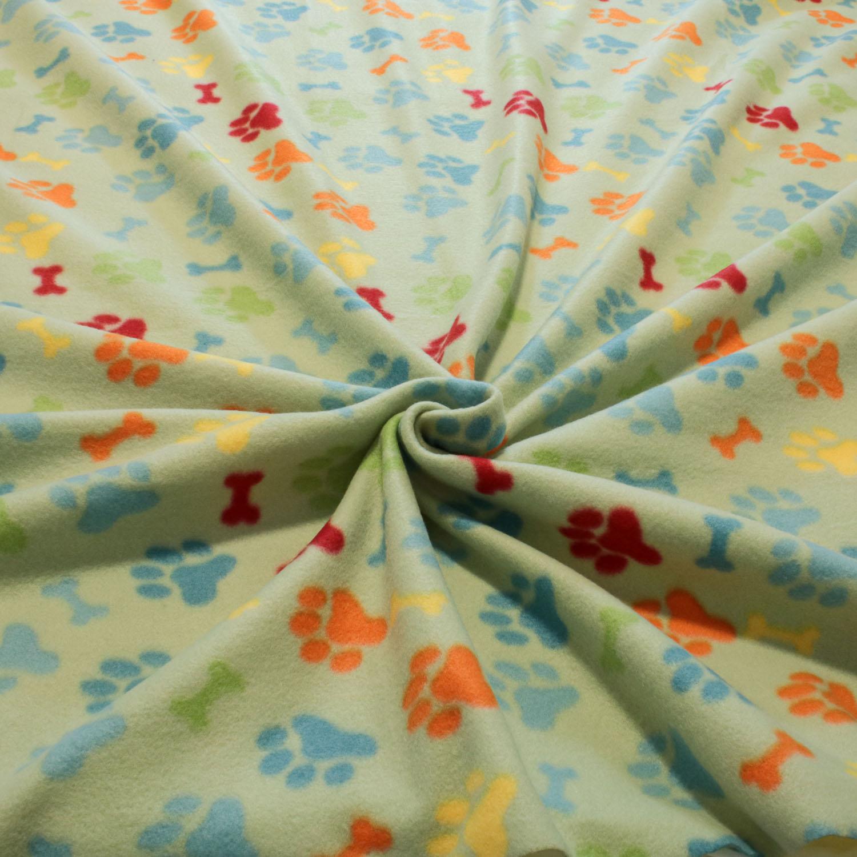 2 Metros Tecido Malha Soft Estampado Osso e Patas Coloridas