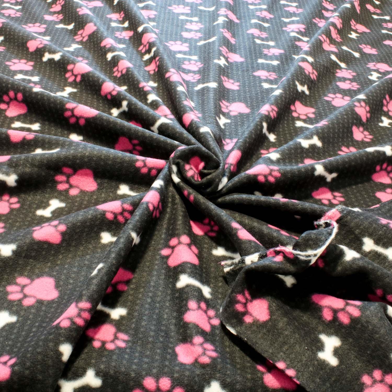 2 Metros Tecido Malha Soft Estampado Patas Pink Fundo Preto