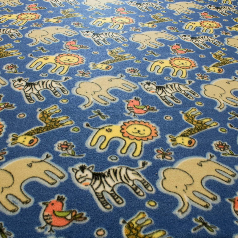 2 Metros Tecido Malha Soft Estampado Zoo Animal Azul Índigo